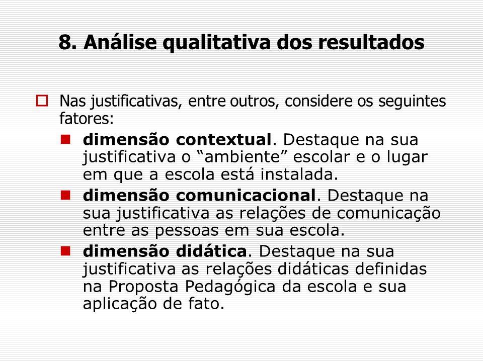 8. Análise qualitativa dos resultados Nas justificativas, entre outros, considere os seguintes fatores: dimensão contextual. Destaque na sua justifica