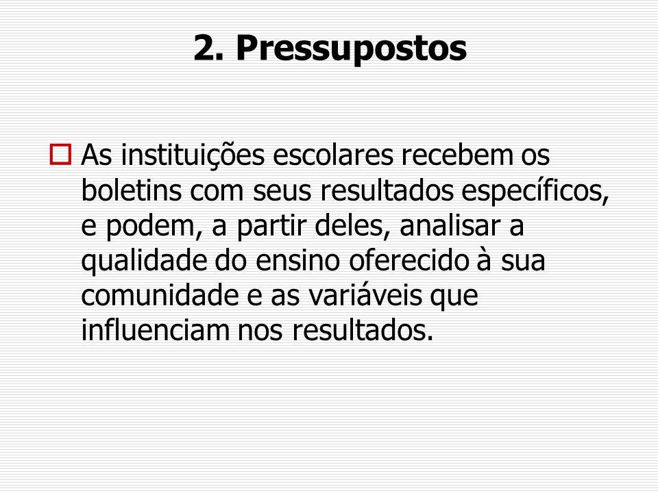 2. Pressupostos As instituições escolares recebem os boletins com seus resultados específicos, e podem, a partir deles, analisar a qualidade do ensino
