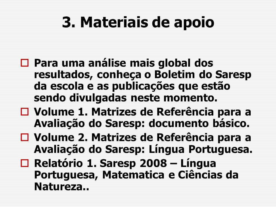 3. Materiais de apoio Para uma análise mais global dos resultados, conheça o Boletim do Saresp da escola e as publicações que estão sendo divulgadas n