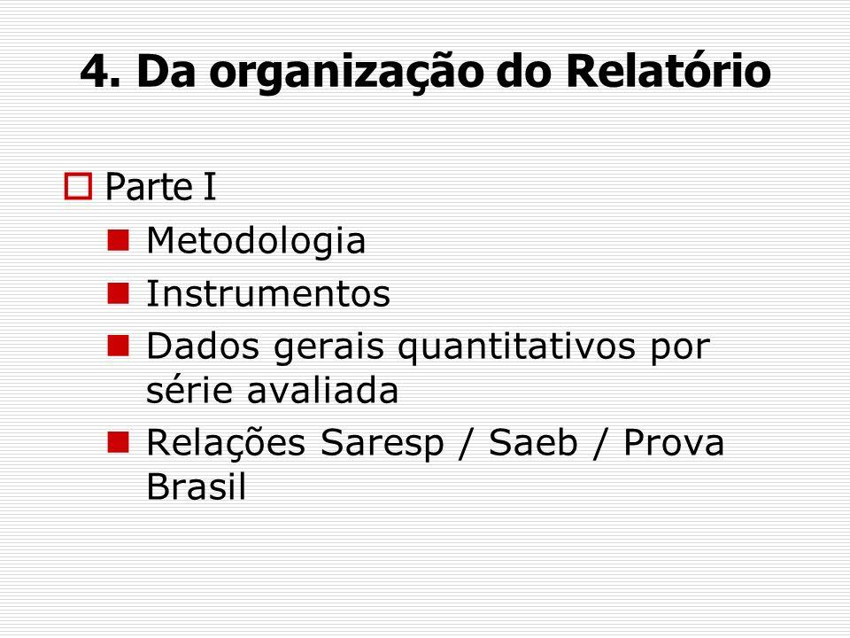 4. Da organização do Relatório Parte I Metodologia Instrumentos Dados gerais quantitativos por série avaliada Relações Saresp / Saeb / Prova Brasil