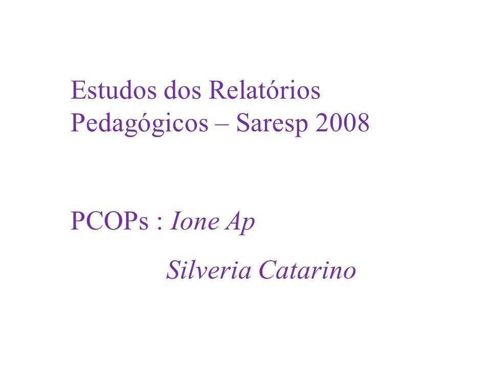 Estudos dos Relatórios Pedagógicos – Saresp 2008 PCOPs : Ione Ap Silveria Catarino L