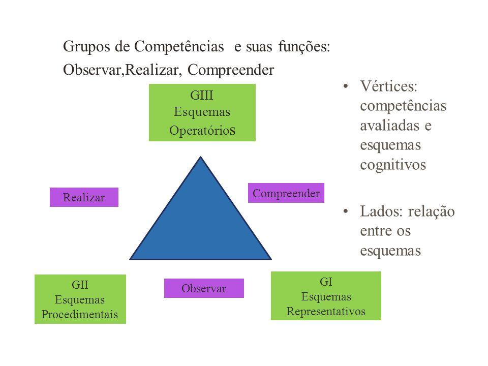 GIII Esquemas Operatório s GI Esquemas Representativos GII Esquemas Procedimentais Realizar Compreender Observar Vértices: competências avaliadas e es
