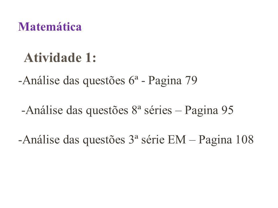 -Análise das questões 6ª - Pagina 79 -Análise das questões 8ª séries – Pagina 95 -Análise das questões 3ª série EM – Pagina 108 Matemática Atividade 1