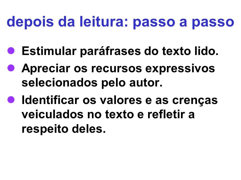 depois da leitura: passo a passo Estimular paráfrases do texto lido. Apreciar os recursos expressivos selecionados pelo autor. Identificar os valores
