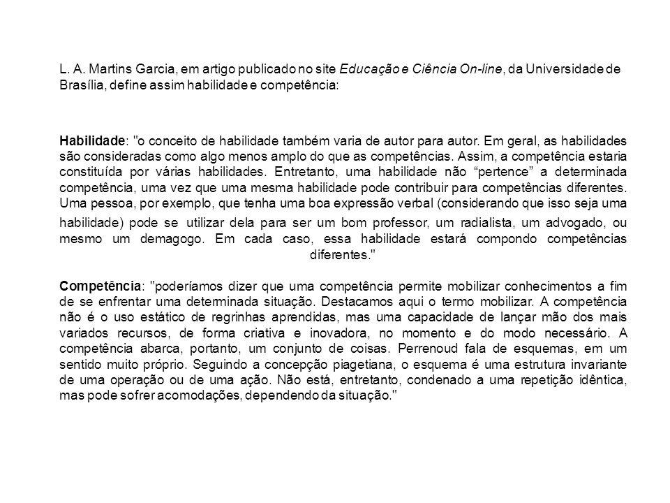 L. A. Martins Garcia, em artigo publicado no site Educação e Ciência On-line, da Universidade de Brasília, define assim habilidade e competência: Habi