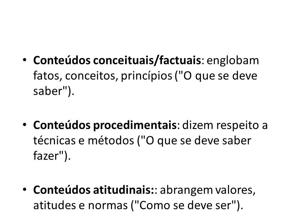 Conteúdos conceituais/factuais: englobam fatos, conceitos, princípios (