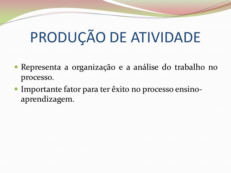 PRODUÇÃO DE ATIVIDADE Representa a organização e a análise do trabalho no processo.
