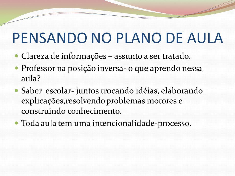 PENSANDO NO PLANO DE AULA Clareza de informações – assunto a ser tratado.