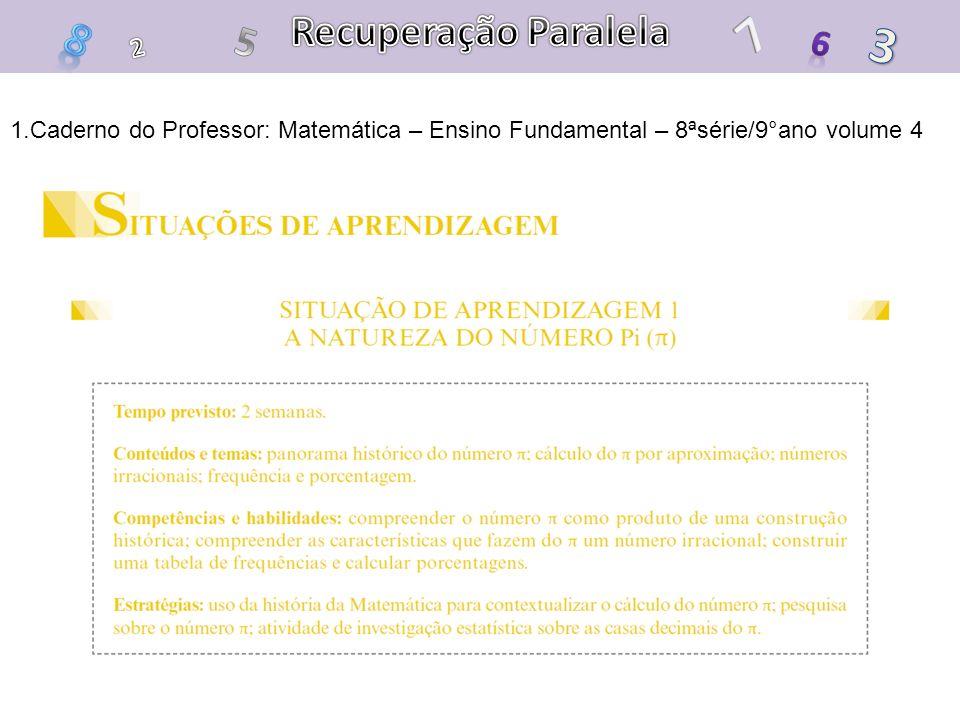 1.Caderno do Professor: Matemática – Ensino Fundamental – 8ªsérie/9°ano volume 4