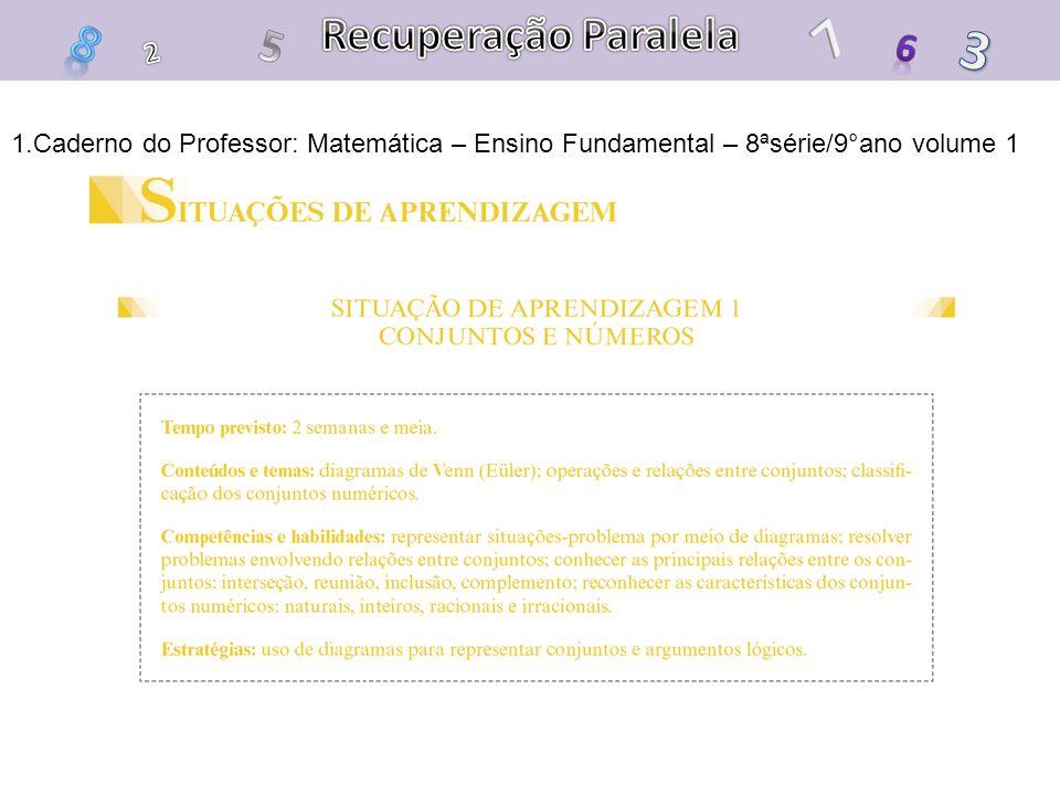 1.Caderno do Professor: Matemática – Ensino Fundamental – 8ªsérie/9°ano volume 1