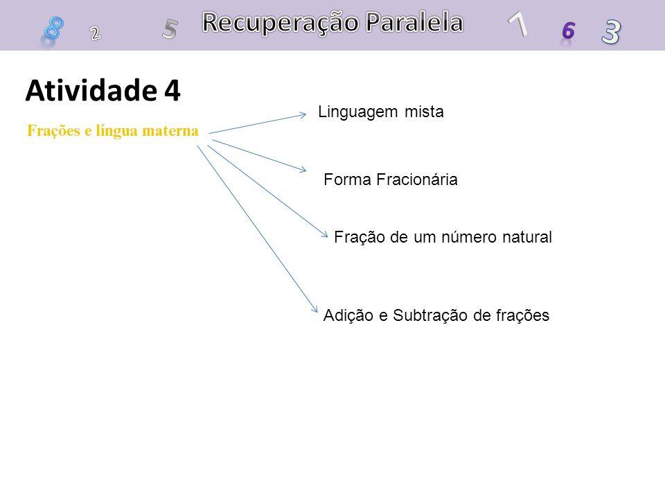 Atividade 4 Linguagem mista Forma Fracionária Fração de um número natural Adição e Subtração de frações