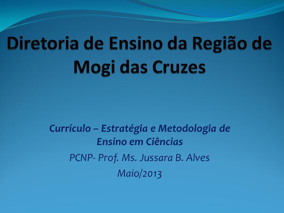 Currículo – Estratégia e Metodologia de Ensino em Ciências PCNP- Prof. Ms. Jussara B. Alves Maio/2013