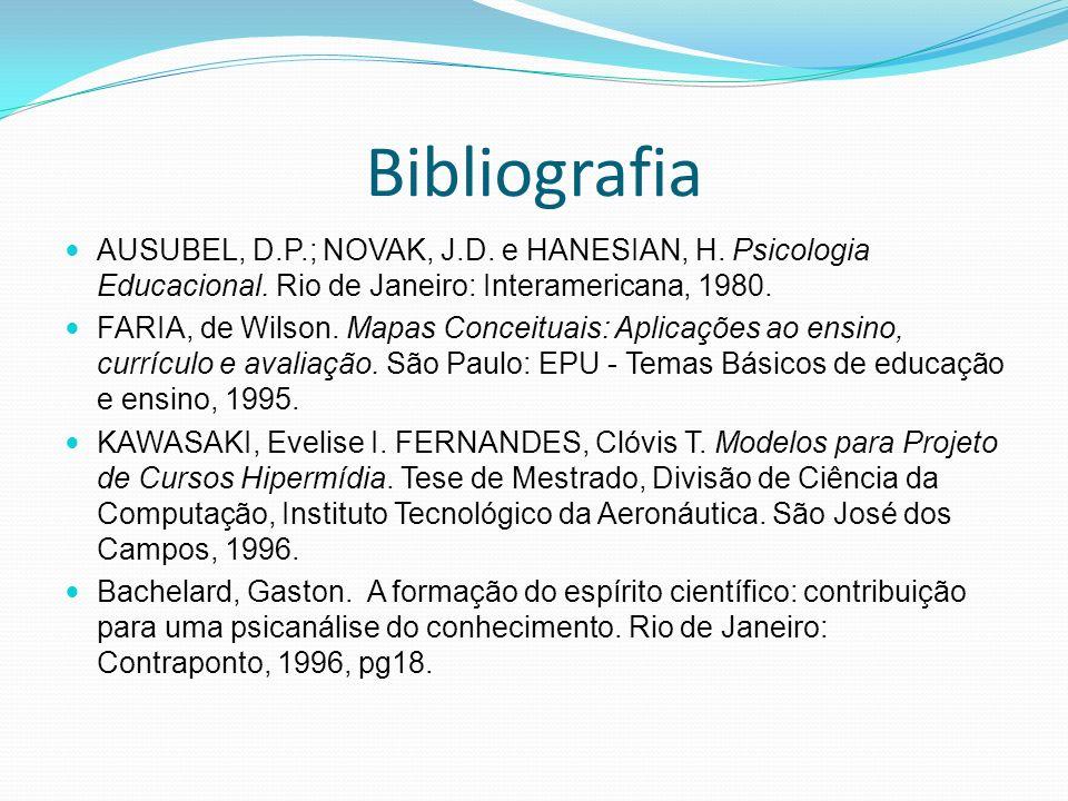 Bibliografia AUSUBEL, D.P.; NOVAK, J.D. e HANESIAN, H. Psicologia Educacional. Rio de Janeiro: Interamericana, 1980. FARIA, de Wilson. Mapas Conceitua