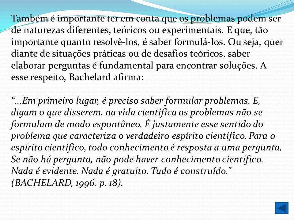 Também é importante ter em conta que os problemas podem ser de naturezas diferentes, teóricos ou experimentais. E que, tão importante quanto resolvê-l