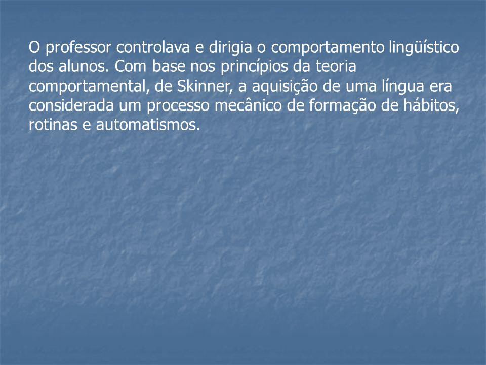 O professor controlava e dirigia o comportamento lingüístico dos alunos. Com base nos princípios da teoria comportamental, de Skinner, a aquisição de