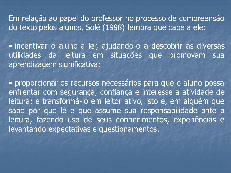 Em relação ao papel do professor no processo de compreensão do texto pelos alunos, Solé (1998) lembra que cabe a ele: incentivar o aluno a ler, ajudan