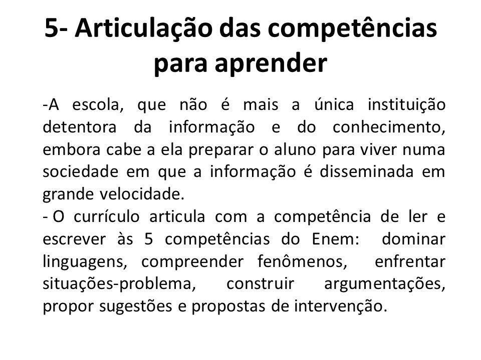 5- Articulação das competências para aprender -A escola, que não é mais a única instituição detentora da informação e do conhecimento, embora cabe a e
