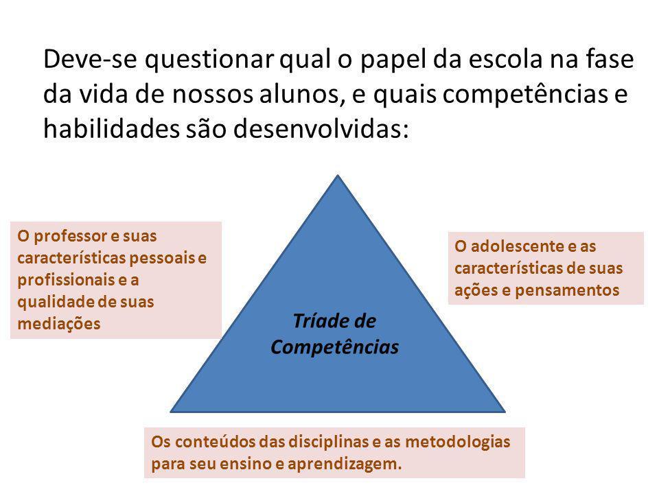 Deve-se questionar qual o papel da escola na fase da vida de nossos alunos, e quais competências e habilidades são desenvolvidas: O adolescente e as c