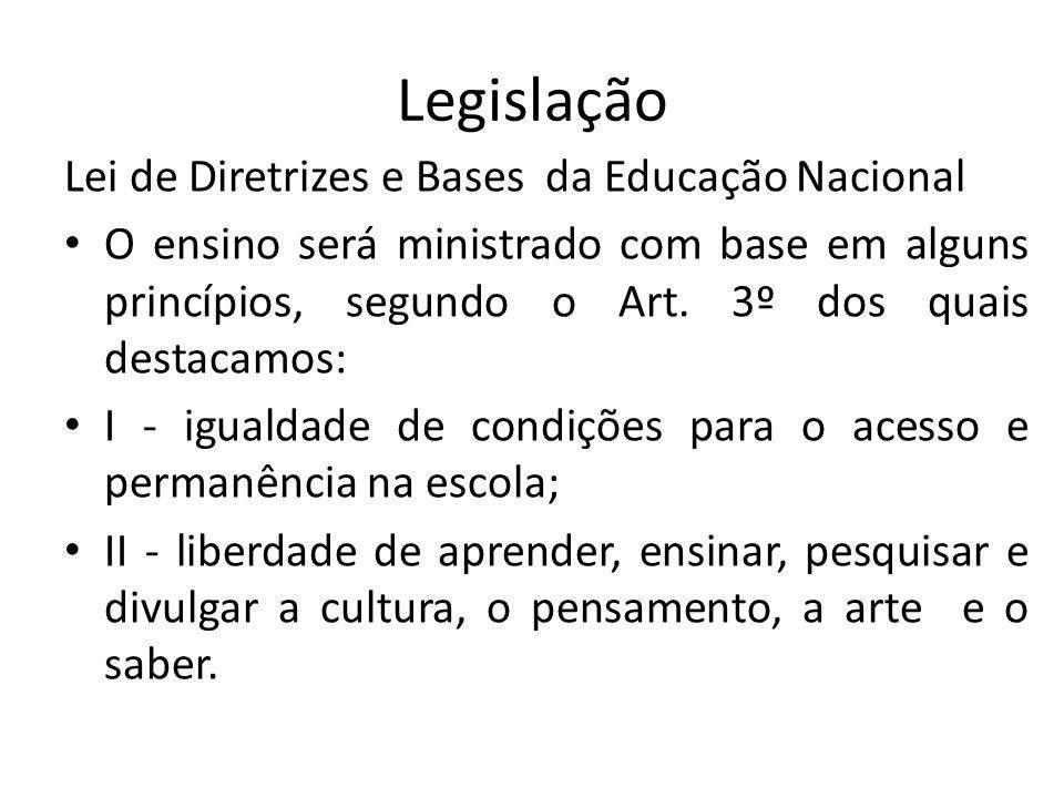 Legislação Lei de Diretrizes e Bases da Educação Nacional O ensino será ministrado com base em alguns princípios, segundo o Art. 3º dos quais destacam