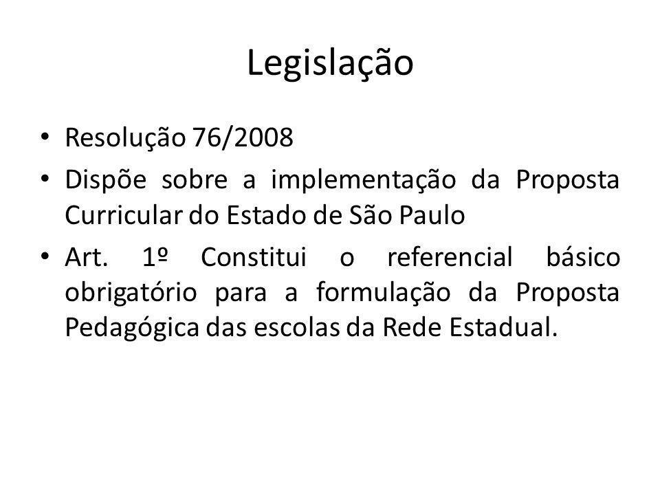 Legislação Resolução 76/2008 Dispõe sobre a implementação da Proposta Curricular do Estado de São Paulo Art. 1º Constitui o referencial básico obrigat