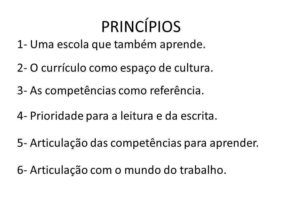 PRINCÍPIOS 1- Uma escola que também aprende. 2- O currículo como espaço de cultura. 3- As competências como referência. 4- Prioridade para a leitura e
