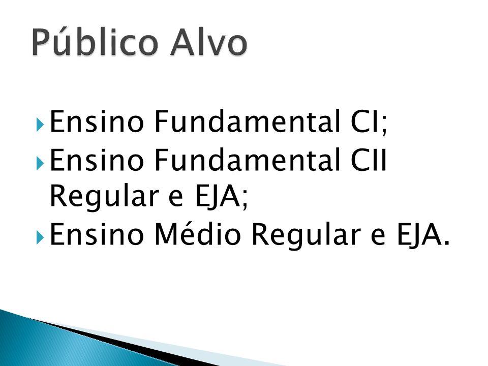 Ensino Fundamental CI; Ensino Fundamental CII Regular e EJA; Ensino Médio Regular e EJA.