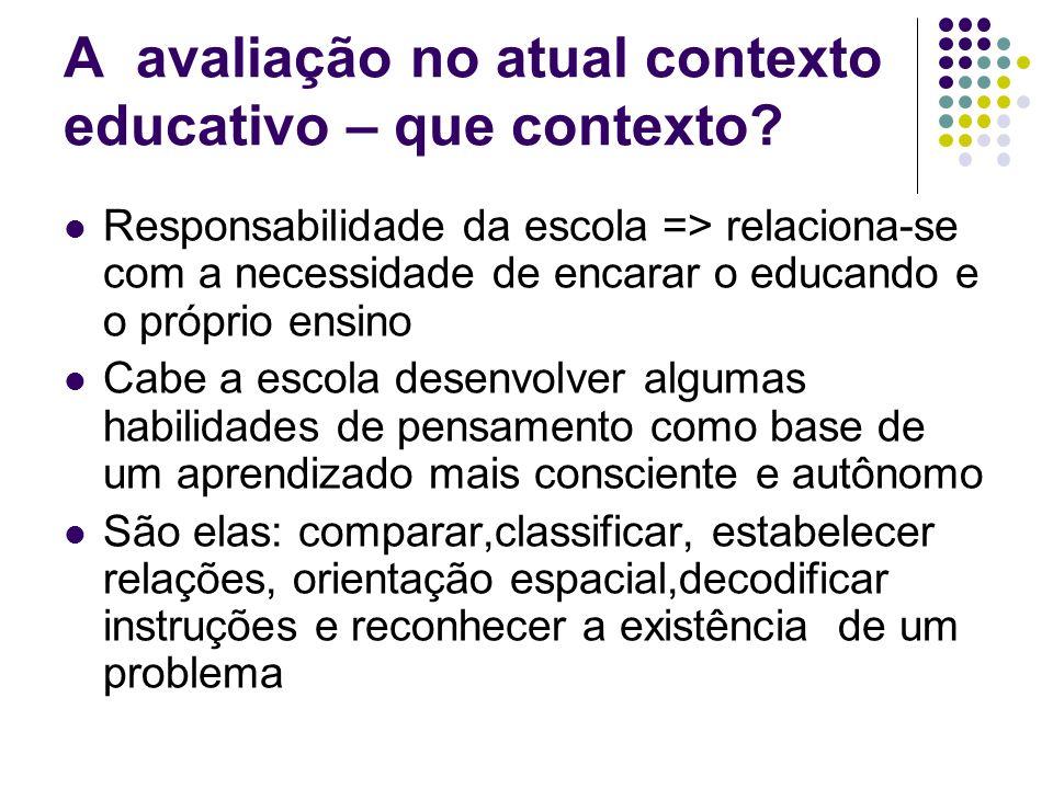 A avaliação no atual contexto educativo – que contexto? Responsabilidade da escola => relaciona-se com a necessidade de encarar o educando e o próprio