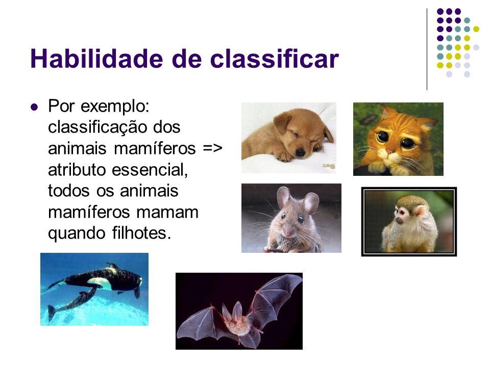 Habilidade de classificar Por exemplo: classificação dos animais mamíferos => atributo essencial, todos os animais mamíferos mamam quando filhotes.