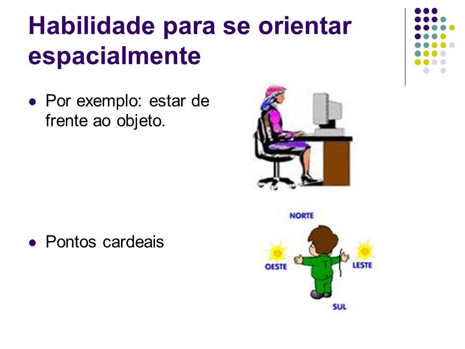Habilidade para se orientar espacialmente Por exemplo: estar de frente ao objeto. Pontos cardeais