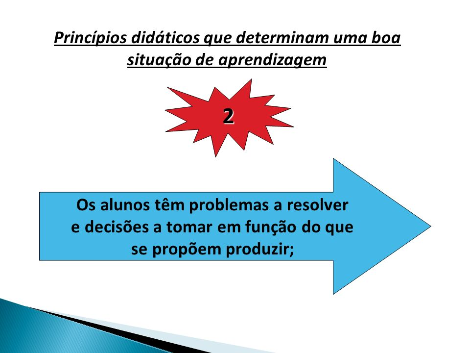 Princípios didáticos que determinam uma boa situação de aprendizagem 2 Os alunos têm problemas a resolver e decisões a tomar em função do que se propõem produzir;
