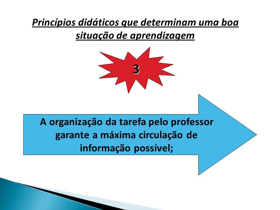 Princípios didáticos que determinam uma boa situação de aprendizagem 3 A organização da tarefa pelo professor garante a máxima circulação de informação possível;