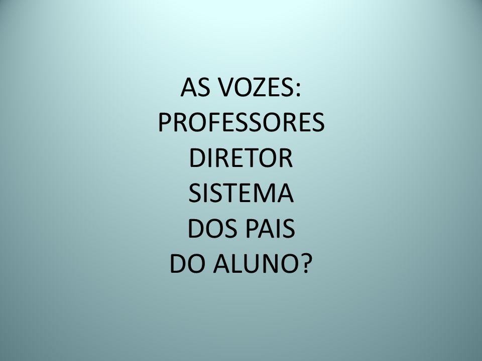 AS VOZES: PROFESSORES DIRETOR SISTEMA DOS PAIS DO ALUNO?