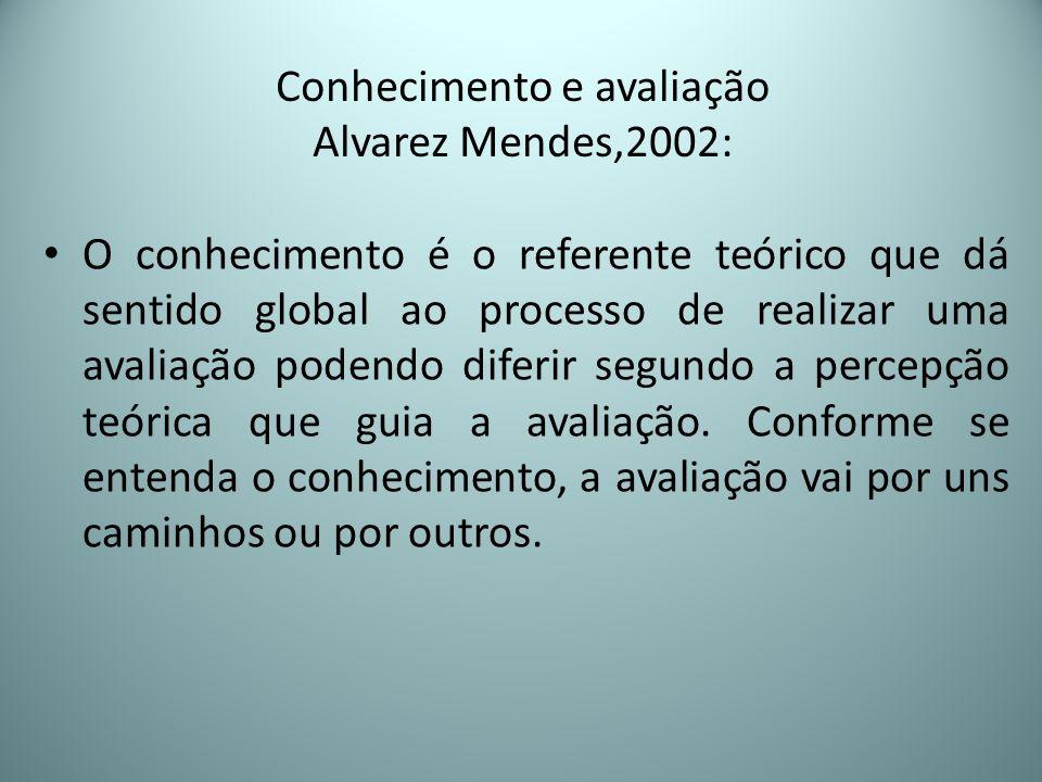 Conhecimento e avaliação Alvarez Mendes,2002: O conhecimento é o referente teórico que dá sentido global ao processo de realizar uma avaliação podendo