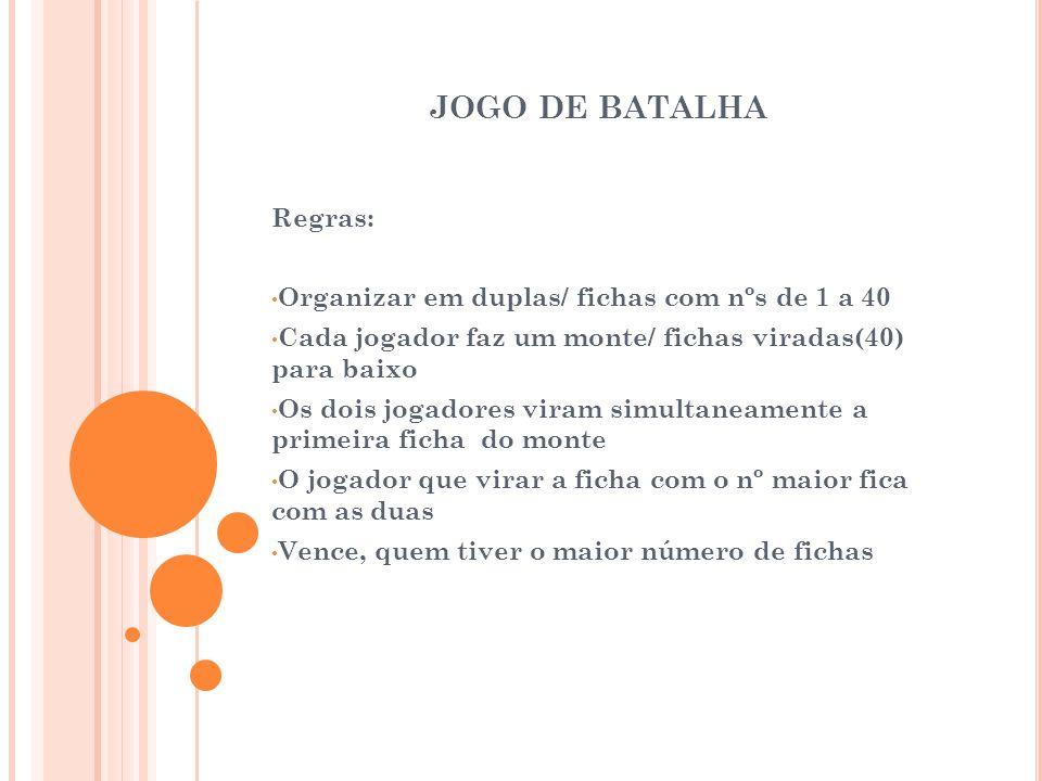 JOGO DE BATALHA Regras: Organizar em duplas/ fichas com nºs de 1 a 40 Cada jogador faz um monte/ fichas viradas(40) para baixo Os dois jogadores viram