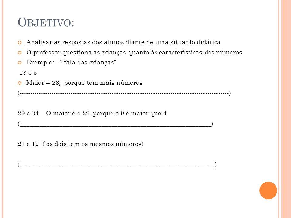 O BJETIVO : Analisar as respostas dos alunos diante de uma situação didática O professor questiona as crianças quanto às características dos números E