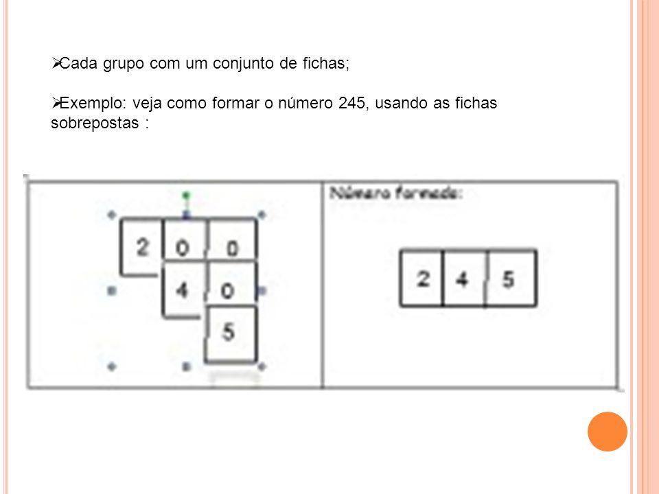 Cada grupo com um conjunto de fichas; Exemplo: veja como formar o número 245, usando as fichas sobrepostas :