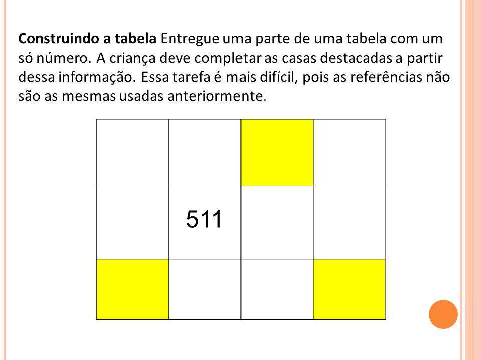 Construindo a tabela Entregue uma parte de uma tabela com um só número. A criança deve completar as casas destacadas a partir dessa informação. Essa t