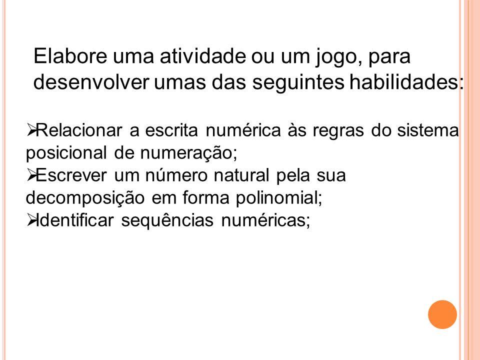 Elabore uma atividade ou um jogo, para desenvolver umas das seguintes habilidades: Relacionar a escrita numérica às regras do sistema posicional de nu