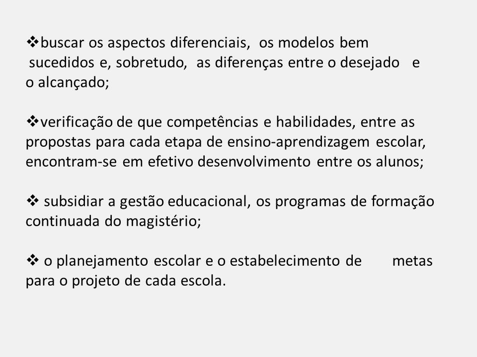buscar os aspectos diferenciais, os modelos bem sucedidos e, sobretudo, as diferenças entre o desejado e o alcançado; verificação de que competências