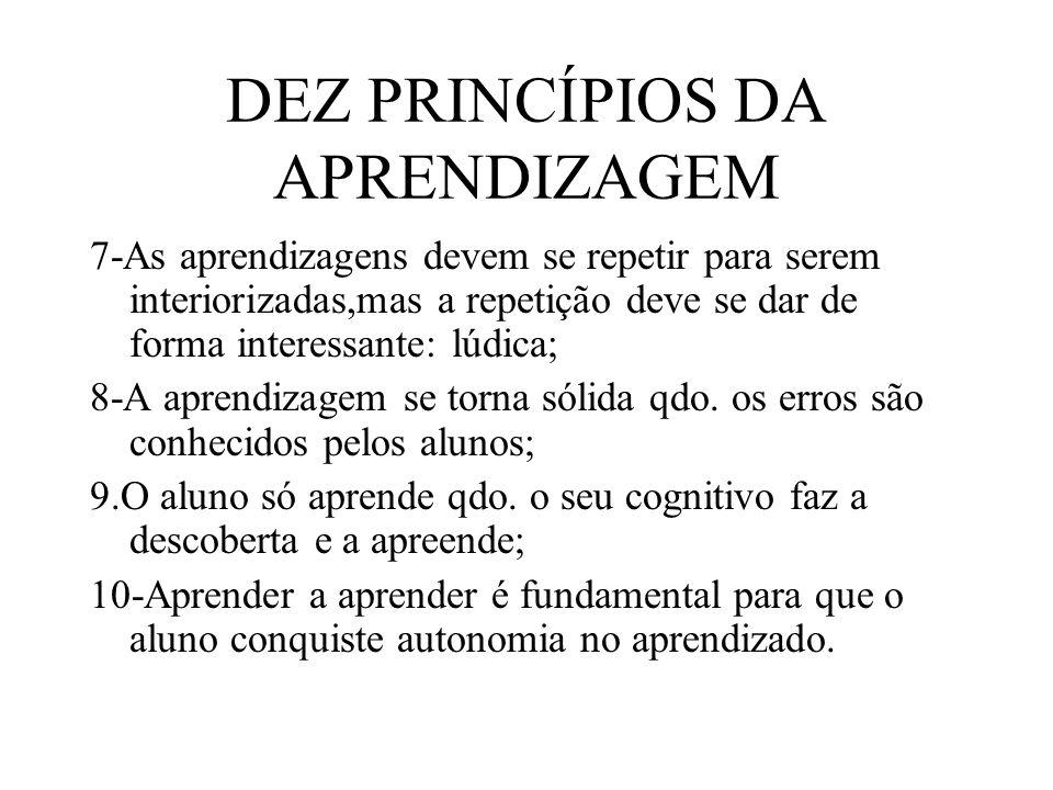 DEZ PRINCÍPIOS DA APRENDIZAGEM 7-As aprendizagens devem se repetir para serem interiorizadas,mas a repetição deve se dar de forma interessante: lúdica