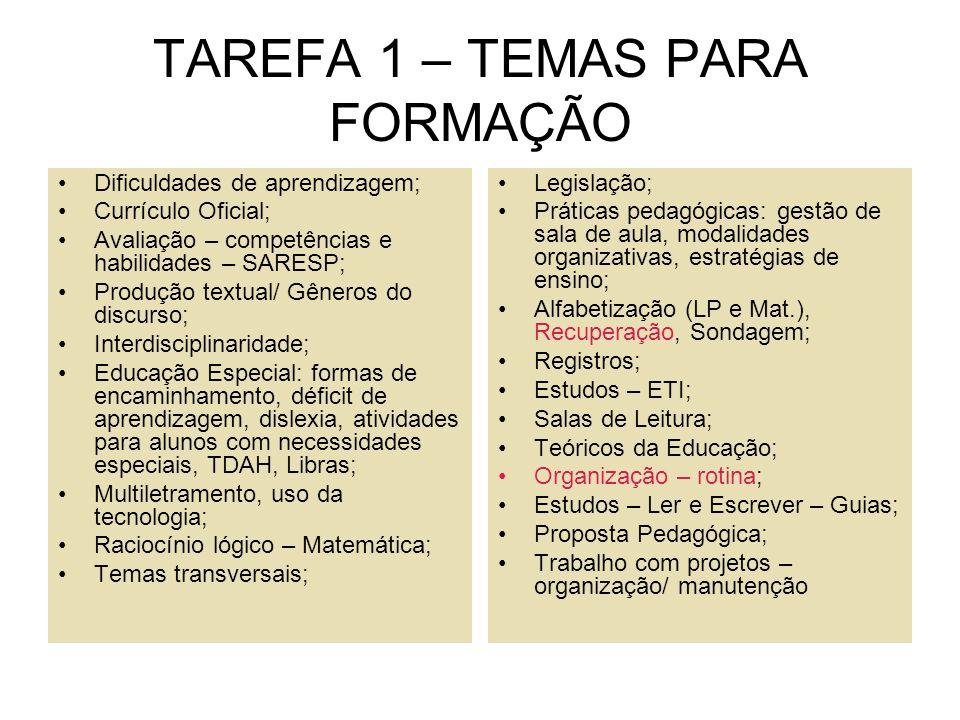 TAREFA 1 – TEMAS PARA FORMAÇÃO Dificuldades de aprendizagem; Currículo Oficial; Avaliação – competências e habilidades – SARESP; Produção textual/ Gên