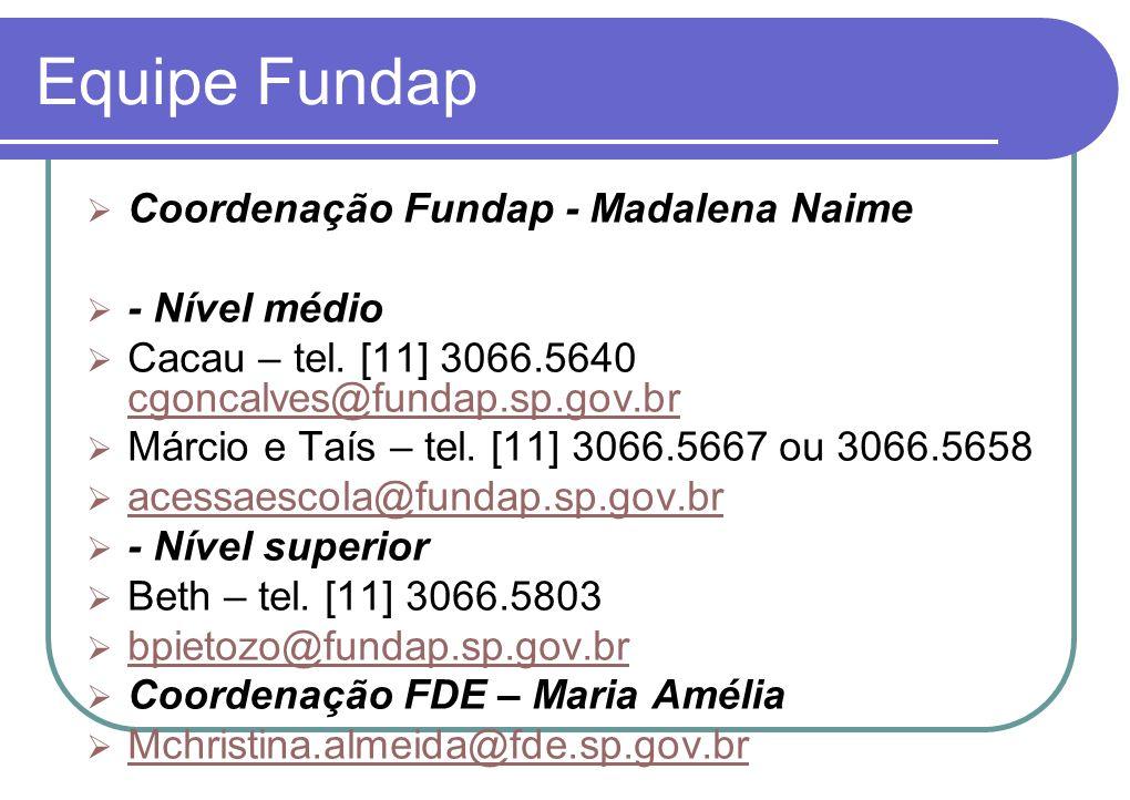 Equipe Fundap Coordenação Fundap - Madalena Naime - Nível médio Cacau – tel.