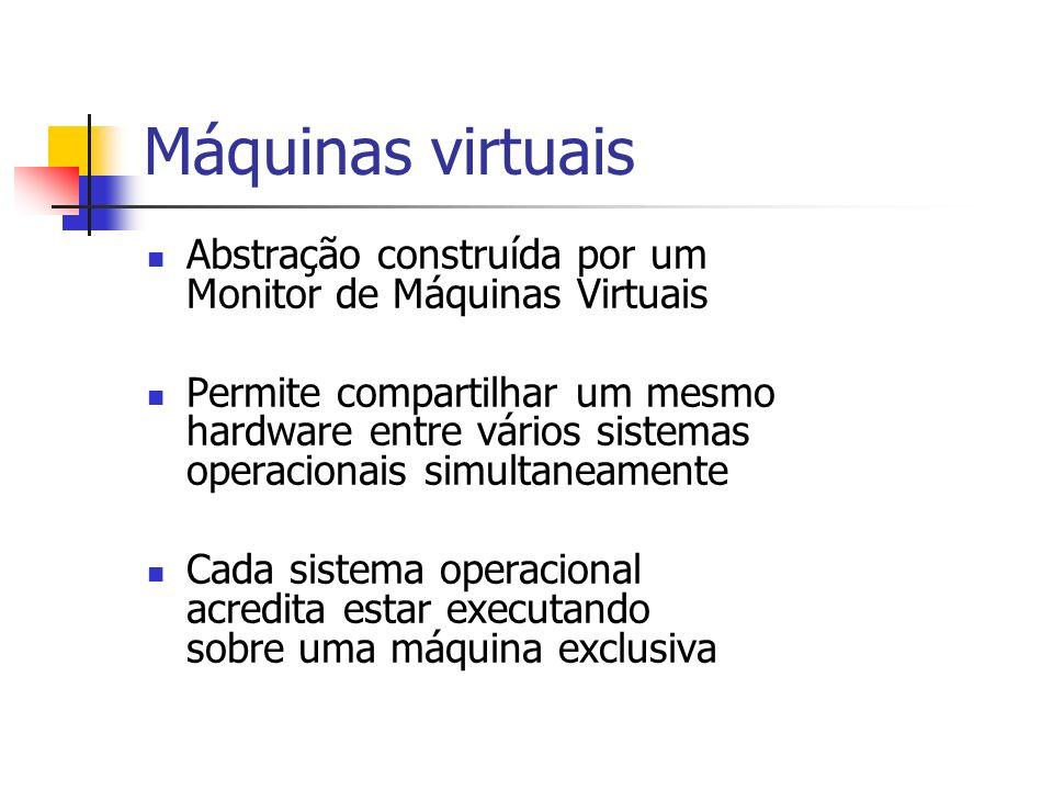 Máquinas virtuais Abstração construída por um Monitor de Máquinas Virtuais Permite compartilhar um mesmo hardware entre vários sistemas operacionais s