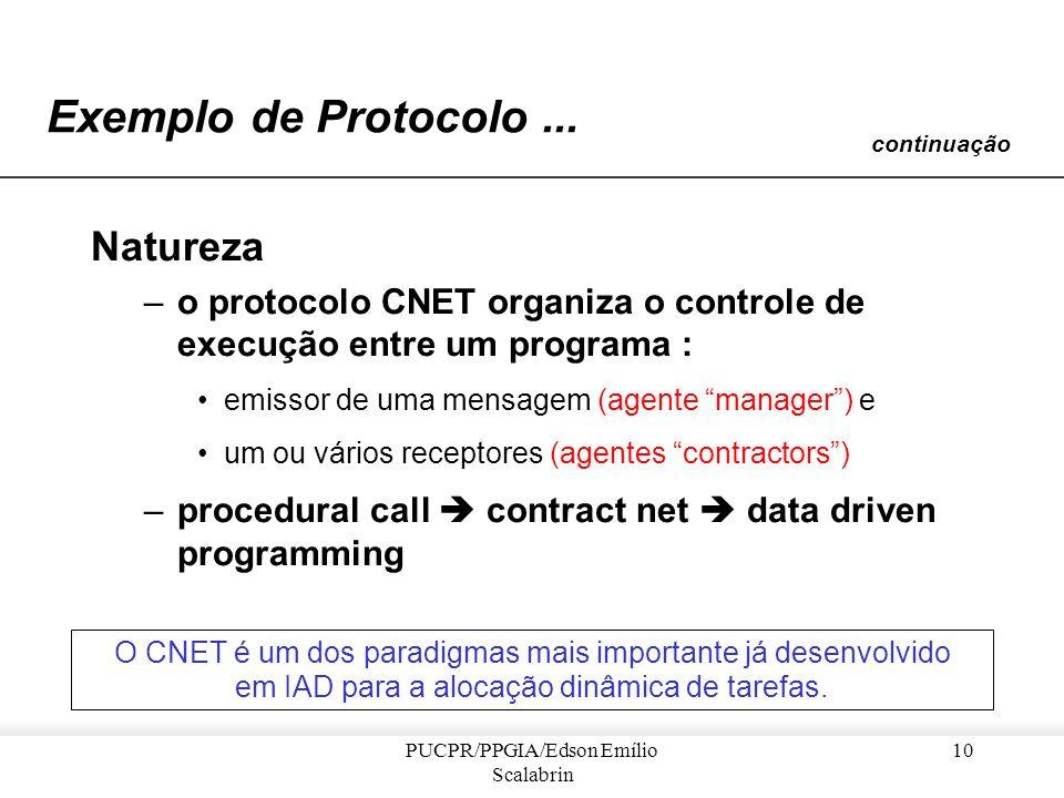 PUCPR/PPGIA/Edson Emílio Scalabrin 9 Exemplo de Protocolo... Origem : –o protocolo CNET foi inicialmente aplicado a uma rede de sensores acústicos dis