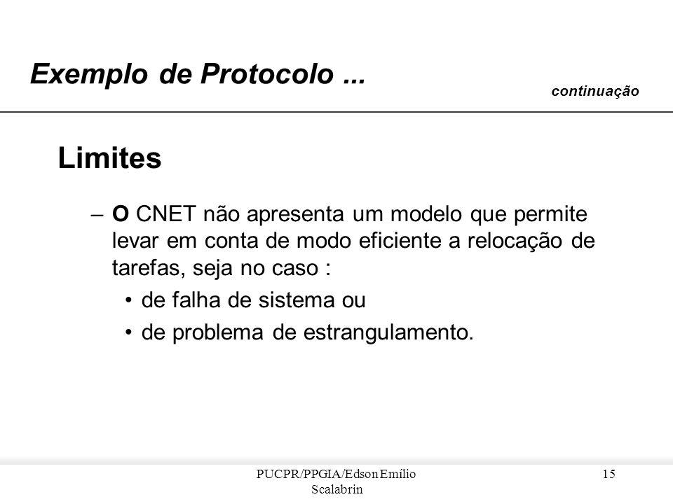 PUCPR/PPGIA/Edson Emílio Scalabrin 14 Exemplo de Protocolo... continuação Comentários... –O CNET é uma generalização da abordagem cliente/servidor –O