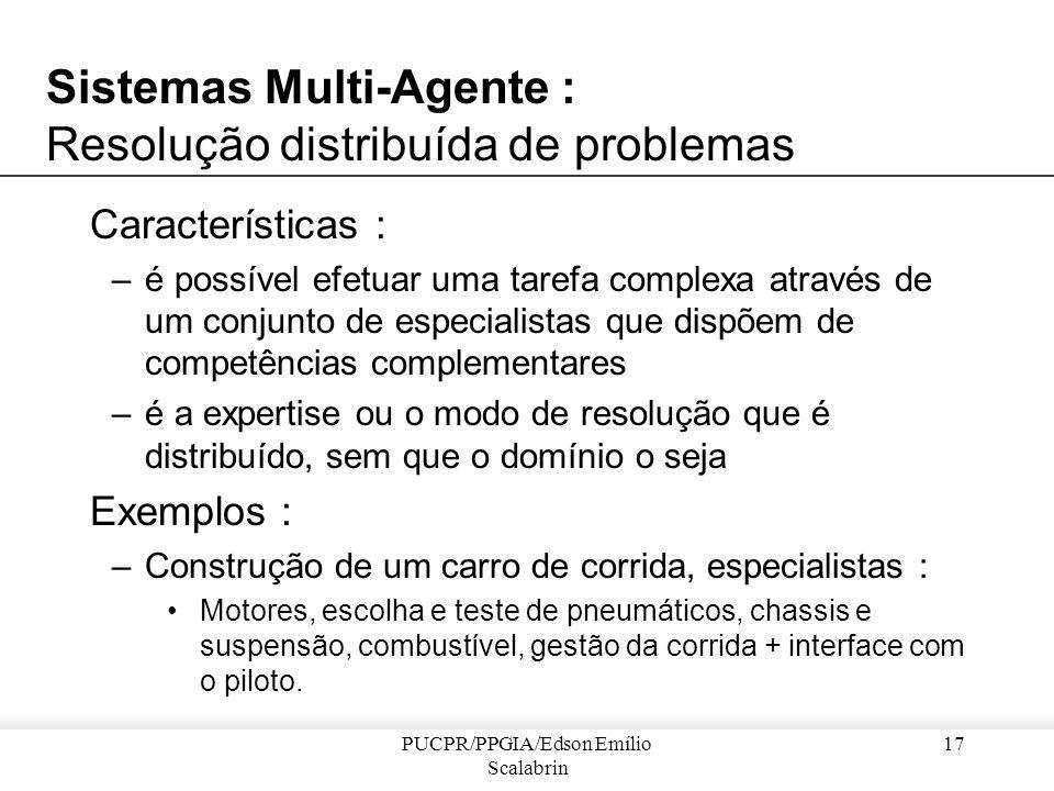 PUCPR/PPGIA/Edson Emílio Scalabrin 16 Sistemas Multi-agente : Domínios de Aplicação Sistemas multi-agente Resolução distribuída de problemas Resolução