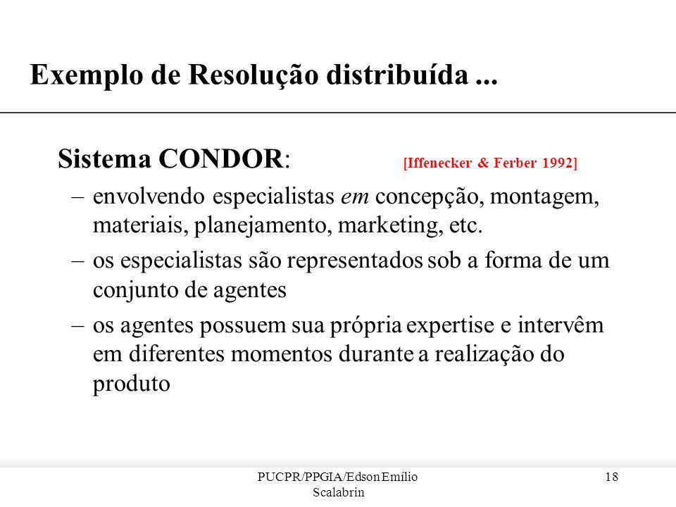 PUCPR/PPGIA/Edson Emílio Scalabrin 17 Sistemas Multi-Agente : Resolução distribuída de problemas Características : –é possível efetuar uma tarefa comp