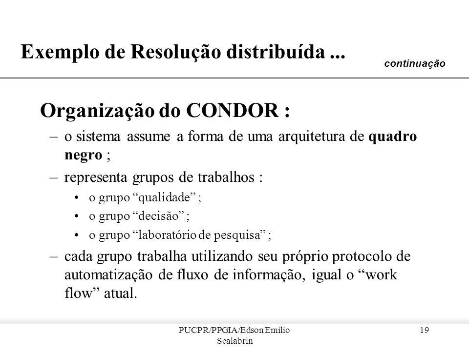 PUCPR/PPGIA/Edson Emílio Scalabrin 18 Exemplo de Resolução distribuída... Sistema CONDOR: [Iffenecker & Ferber 1992] –envolvendo especialistas em conc