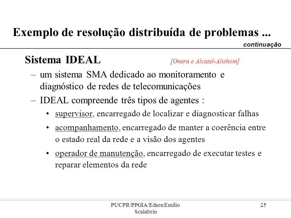 PUCPR/PPGIA/Edson Emílio Scalabrin 24 Sistemas Multi-Agente : Resolução distribuída de problemas distribuídos Características: –o domínio é distribuíd