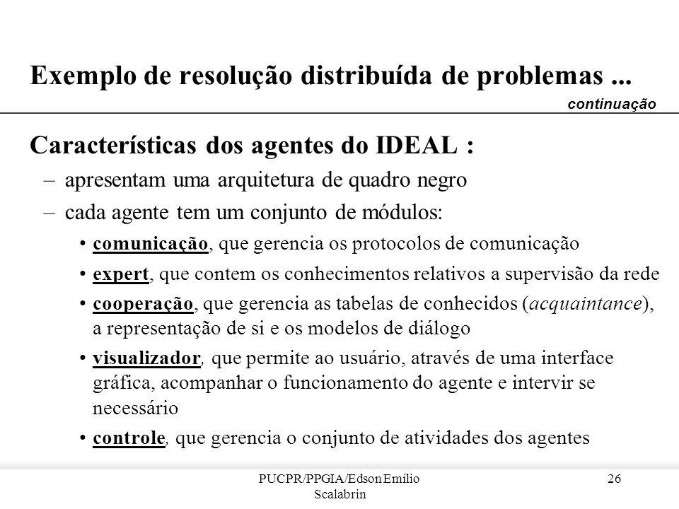 PUCPR/PPGIA/Edson Emílio Scalabrin 25 Exemplo de resolução distribuída de problemas... Sistema IDEAL [Onera e Alcatel-Alsthom] –um sistema SMA dedicad